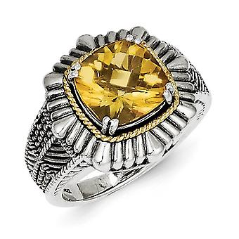 Sterling Silver With 14k Citrine Ring - Ring Size: 6 to 7