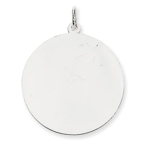 14k blanc or Solid Polished Engravable Plain .013 Gauge Round Engraveable Disc Charm - 2.9 Grams