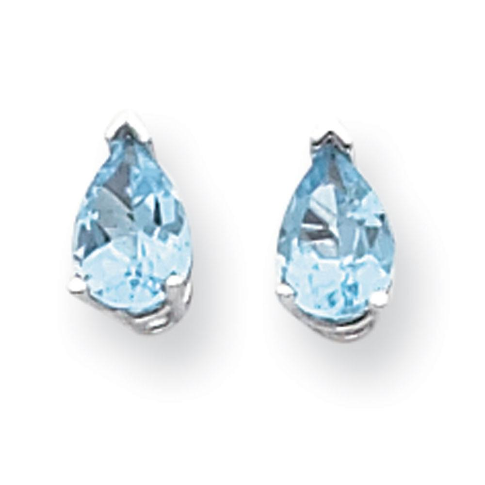 14k blanc or Polished Post Earrings 7x5mm Pear bleu Topaz Earrings - 1.70 cwt