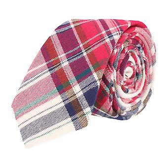 Andrews & co. narrow tie Club tie Plaid red beige