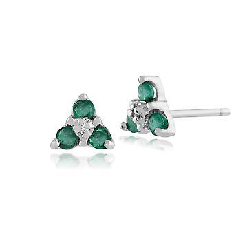 9ct hvitt gull 0,23 ct Emerald & Diamond Classic klynge Stud øredobber