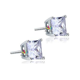 925 Sterling Silver 2 Carat Princess Cut Simulated Diamond Solitaire Studs