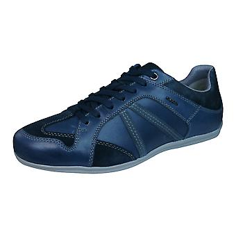 Geox U Houston A Mens Leather Trainers / Shoes - Blue