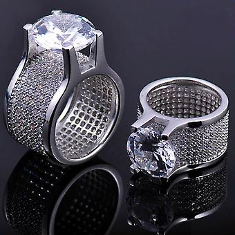 Iced out bling micro pave ring - LA silver