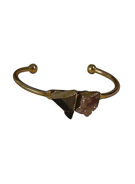 Minimalist chic natuursteen statement cuff armband roze-zwart