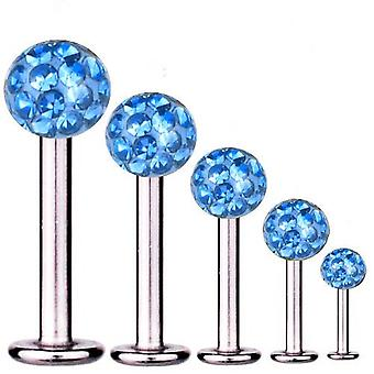 Labret Bar Tragus Piercing Titanium 1,2 mm, Multi Crystal Ball Light Blue | 5-12