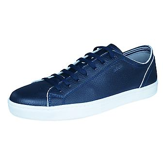 Geox U Ricky B Mens Leather Trainers / Shoes - Navy Blue