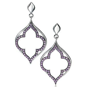 925 Silver Plated Zirconium Fashionable Earring And Ruthenium