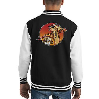 Street Pals Street Fighter Calvin And Hobbes Kid's Varsity Jacket