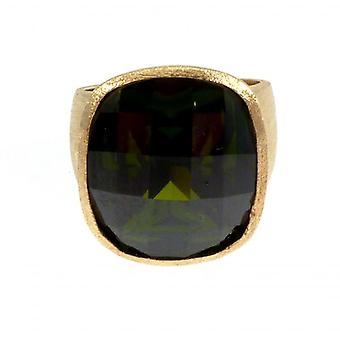 W.A.T Gold Plated Sterling Silver Green Round CZ Cocktail Ring
