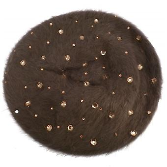W.A.T Brown Angora Crystal Beret