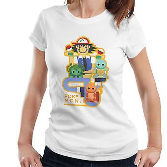 Pokemon Ash y Chums mujeres camiseta