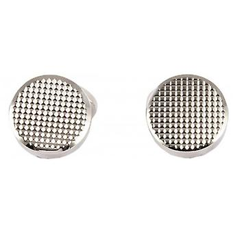 David Aster Round Links Chequered Cufflinks - Silver