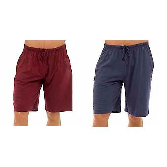 Mens Pack of Two Shorts - Cotton Sleepwear or Lounge Wear Pyjama Shorts