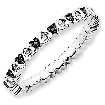 Sterling Silver Stackable Expressions Hearts Black and White Dia. Ring - Ring Size: 5 to 10