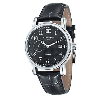 Thomas Earnshaw Es-8027-01 Fitzroy Silver & Black Leather Automatic Men's Watch