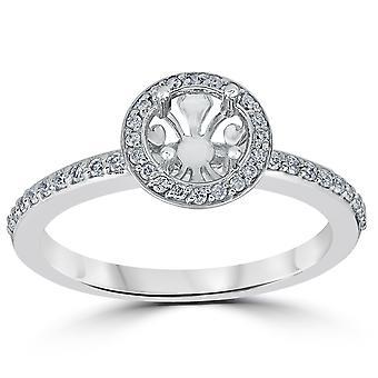 1 / 3ct diamant bague de fiançailles Semi Mont 14K or blanc
