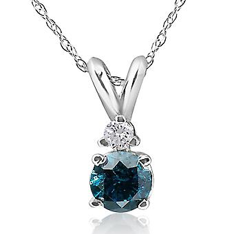 10k White Gold 1/4ct TDW Blue and White Diamond Necklace