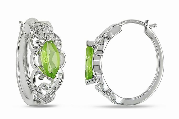 Affici Sterling Silver Creole Hoop Earrings 18ct White Gold Plated with Peridot CZ Gems