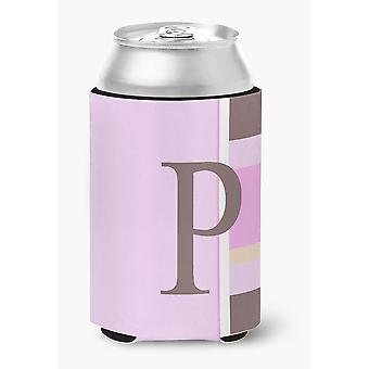 Letter P Initial Monogram - Pink Stripes Can or Bottle Beverage Insulator Hugger