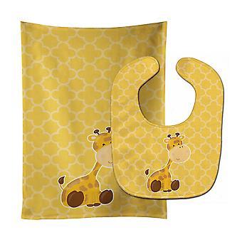 Carolines schatten BB8609STBU giraf Baby Slabbetje & Burp doek