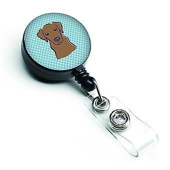 Checkerboard Blue Chocolate Labrador Retractable Badge Reel