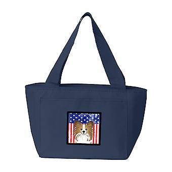 Carolines Schätze BB2178NA-8808 amerikanische Flagge und Papillon-Lunch-Bag