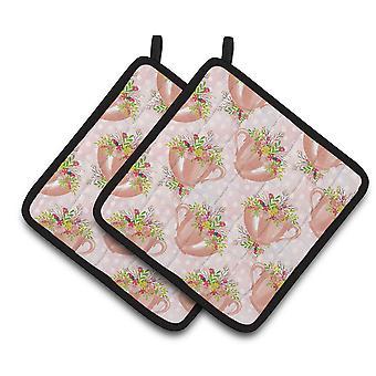كارولين الكنوز BB7481PTHD كوب الشاي والزهور الوردي زوج من أصحاب وعاء