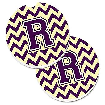 Letter R Chevron Purple and Gold Set of 2 Cup Holder Car Coasters