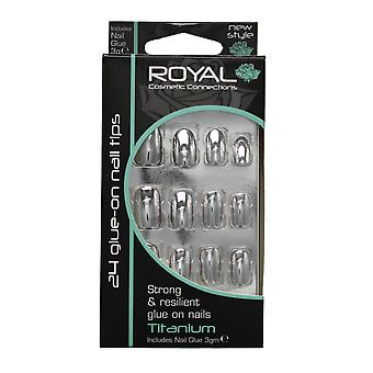 Royal 24 Glue-On Strong & Resilient Nail Tips-Titanium