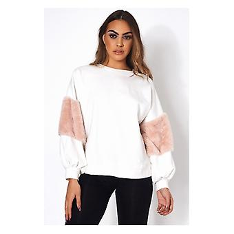 The Fashion Bible White Faux Fur Sweatshirt