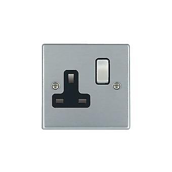 Hamilton Litestat Hartland Satin Chrome 1g 13A DP Switched Socket SC/BL