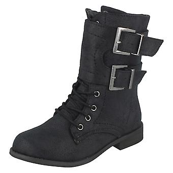 Girls Spot On Military Style Boots
