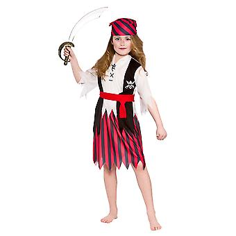 Shipwreck Pirate Girls Childrens Fancy Dress Costume Top, Skirt & Headpiece