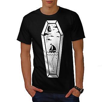 Coffin Sea Ship Fashion Men BlackT-shirt | Wellcoda