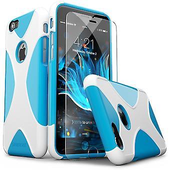 SaharaCase® iPhone 6/6s azul blanco caja, X-Case protector Kit paquete con ZeroDamage® vidrio templado