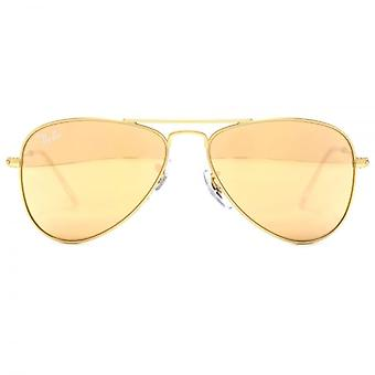 Ray-Ban Junior Aviator Sunglasses In Matte Gold Copper Flash Mirror