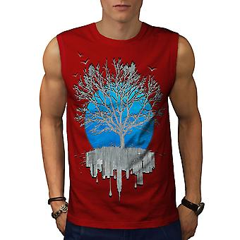Urban Mirror Tree Men RedSleeveless T-shirt | Wellcoda