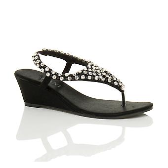 Ajvani womens mid wedge heel slingback beaded diamante jewelled t-bar toe post sandals