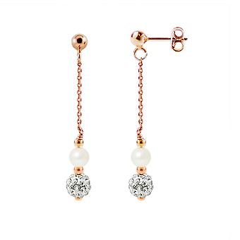 Ears Pendantes plated earrings gold Rose White cultured pearls and Crystal white