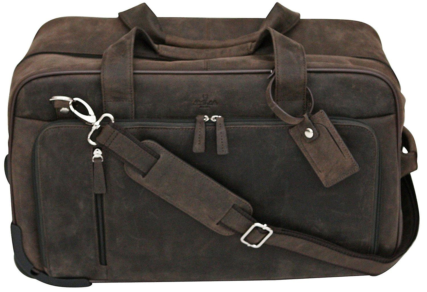 S Babila Top Grain Leather Wheeled Holdall Duffle Overnight Hand Luggage Roller Cabin Bag