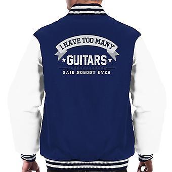 Eu tenho muitas guitarras disse ninguém alguma vez masculino jaqueta