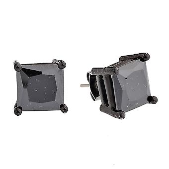 Iced out bling square cubic zirconia stud earring - black