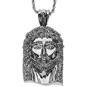 Iced out bling hip hop pendant - JESUS hematite black