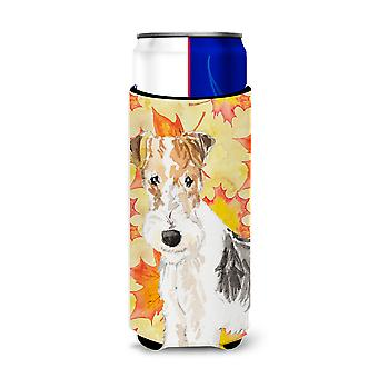 Fall Leaves Fox Terrier Michelob Ultra Hugger for slim cans