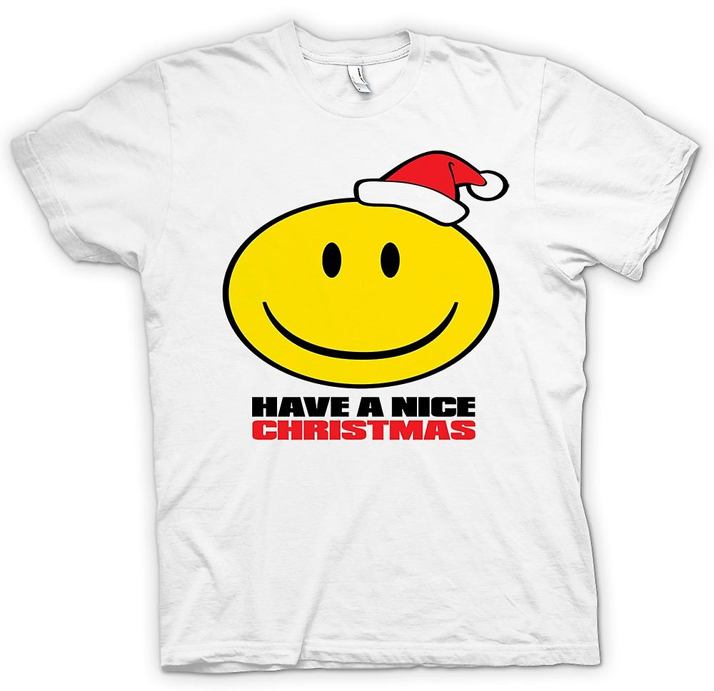 Mens T-shirt - Smiley Face, Have A Nice Kerstmis
