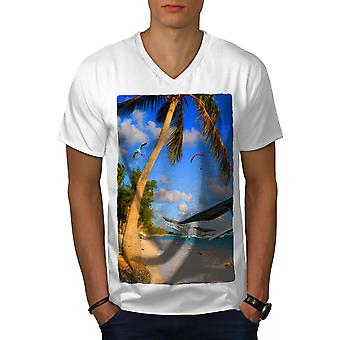 Beach Palm Novelty Men WhiteV-Neck T-shirt | Wellcoda