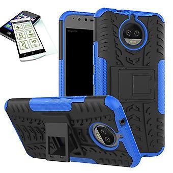 Hybrid case 2 stuk blauw voor Motorola Moto G5S plus + tas-gevaldekking van gehard glas