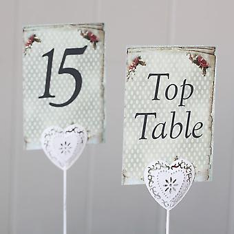 Wedding Table Number Vintage Floral Spots x Top Table 1 - 15 Rustic Vintage