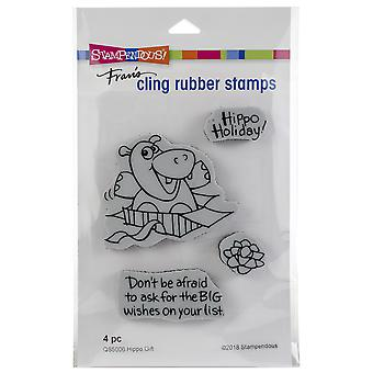 Stampendous Cling Stamp -Hippo Gift